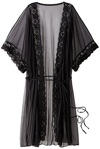 (Shirley of Hollywood Women's Sheer Lace Trimmed Robe, Black One)