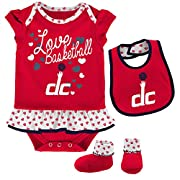 OuterStuff NBA Newborn & Infant Little Sweet  Onesie, Bib and Bootie Washington Wizards-Red-6-9 Months