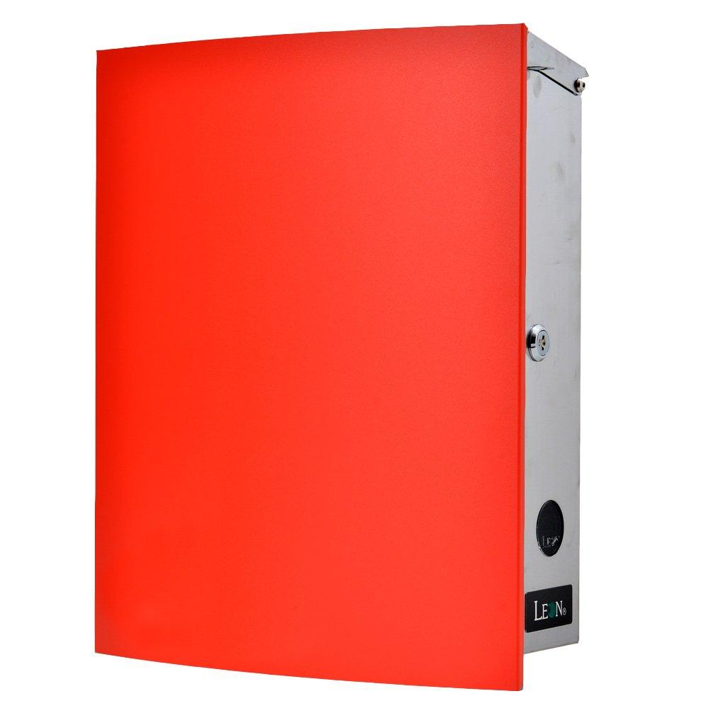 LEON (レオン) MB4504ネオ 郵便ポスト 壁掛けタイプ ステンレス製 鍵付き おしゃれ 大型 ポスト 郵便受け (マグネット付き MAIL BOXシート無し) レッド B076VLCGX4 24624  レッド