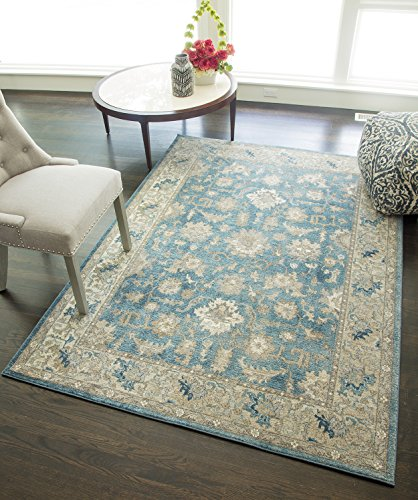 """Rugs America ET450A Area Rug, 4' x 5'7"""", Seafoam Ivory from Rugs America"""