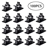 Kamtop Cable Clips 100 PCS Self-adhesive Cable Ties Adjustable Cable Holder Wire Clip Cable Tidy for Desks Tables Walls Ceiling Cabinets Furniture