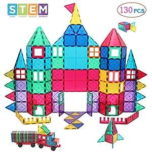 Manve Magnetic Blocks Tiles Toy, 130 PCS Magnet Building Toys,Educational Toys for Kids Children with 2 Sets of CAR…