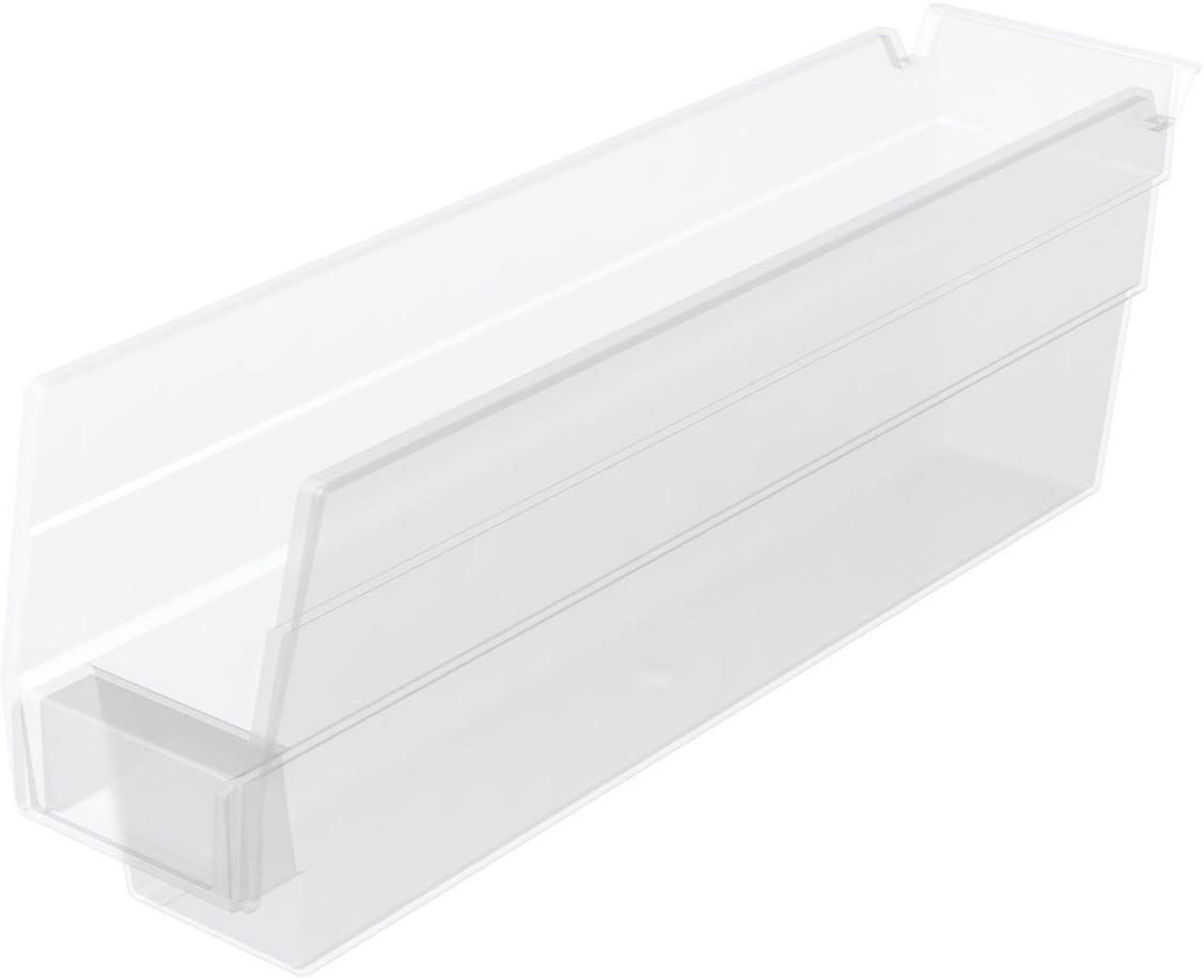 Akro-Mils 30110 Plastic Nesting Shelf Bin Box, (12-Inch x 3-Inch x 4-Inch), Clear, (24-Pack)