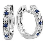 10K Gold Round Blue Sapphire & White Diamond Ladies Hoop Earrings