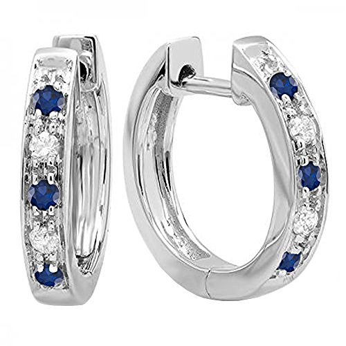 (Dazzlingrock Collection 10K Round Blue Sapphire & White Diamond Ladies Hoop Earrings, White Gold)