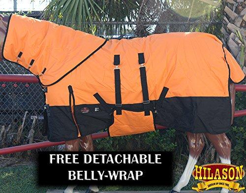 HILASON 74″ 1200D Winter Horse Sheet Neck Cover Belly Wrap Orange