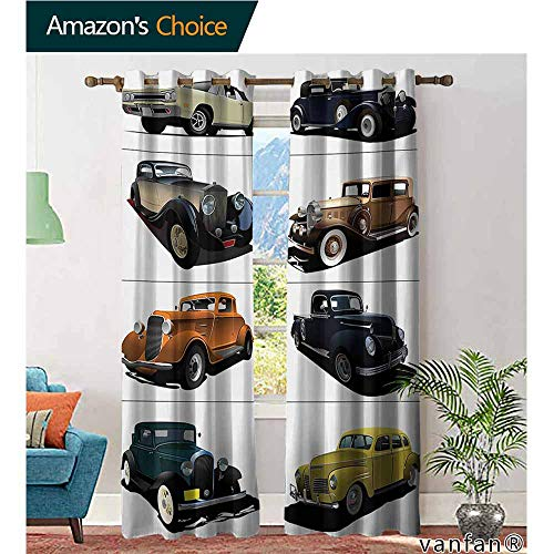 Big datastore Solid Grommet top Curtain,CarsRare Fifties Vintage Cars with Closed Roof Tops Original Timeless Automobile Graphic,Extra Long and Wider,Multicolor,W84 xL108 ()