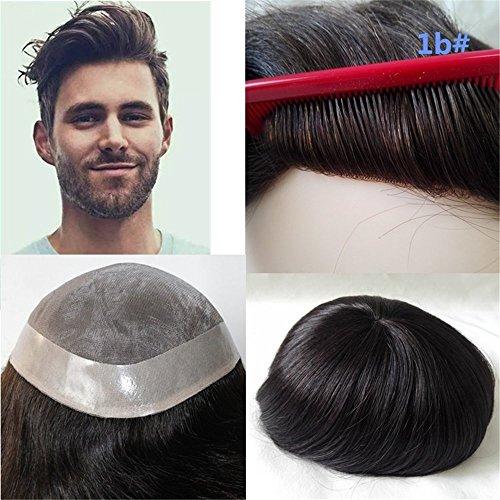 Lumeng Wigs For Men Hairpiece Mono Lace Systems Mens Toupee Size 8x10 Inch Color 1B Wigs Super Durable Lace Men Units