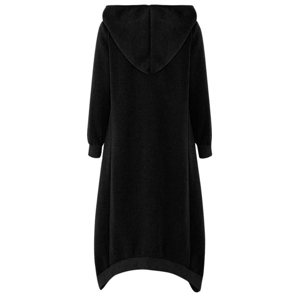 Maglione da donna maniche lunghe maxi felpa con cappuccio Nero XXXXXL con cappuccio oversize cerniera