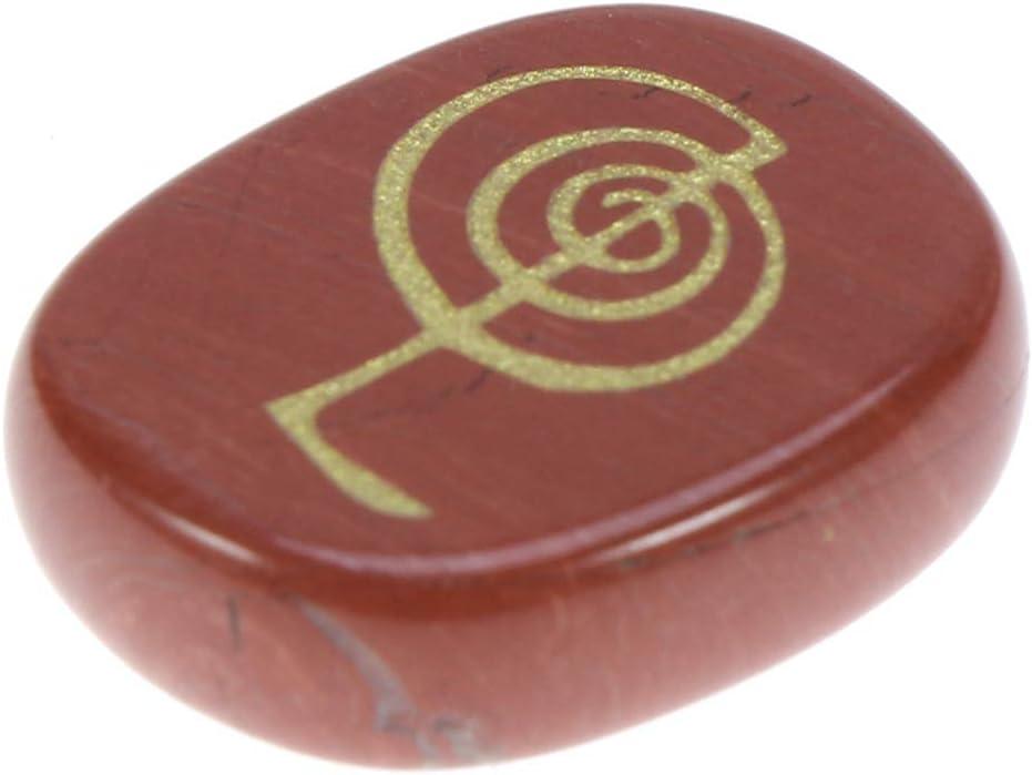 SUPVOX cristal jaspe rojo grabado símbolos de chakra piedras palma piedra reiki cristal