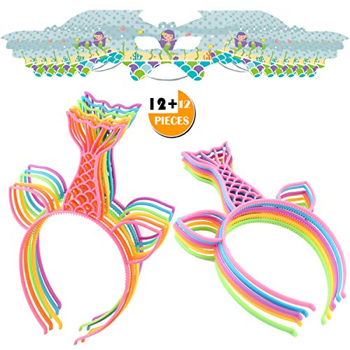 Mermaid Headbands Masks Party Favors Supplies Cat Ear Head Bands Girls Plastic Tail Hairbands Hair Accessory for Cosplay/Birthday/Pool/Halloween/Christmas Party Costume Daily Decorations(24 Pack)