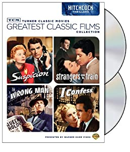 Tcm Greatest Classic Films Collection Hitchcock Thrillers Suspicion Strangers On A Train The Wrong Man I Confess by Warner Home Video