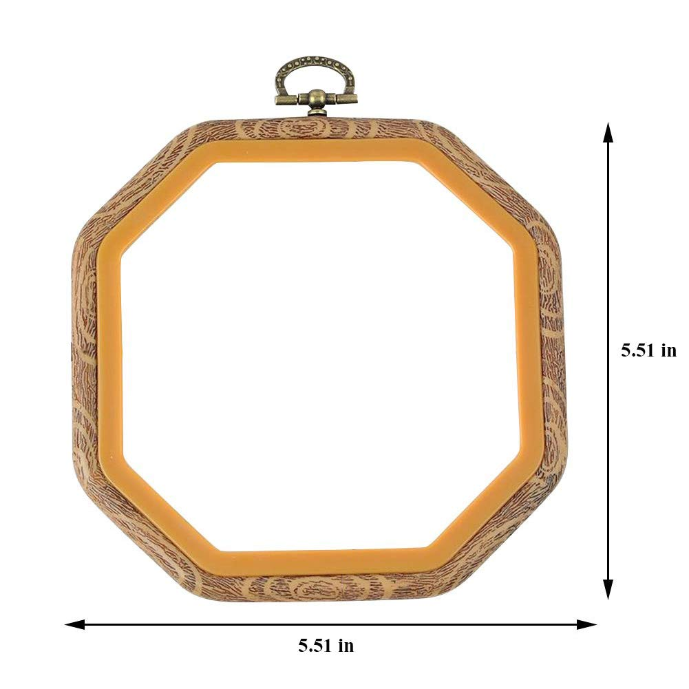 Ibnotuiy 2PCS Plastic Octagon Embroidery Hoops Imitated Wood Cross Stitch Hoop Set Display Frame for Art Craft Handy Sewing and Hanging