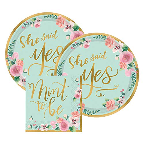 She Said Yes Bridal Shower Wedding Paper Dessert Plates and Paper Napkins, 16 Servings, Bundle- 3 Items