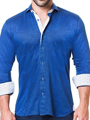 Maceoo Mens Designer Dress Shirt - Stylish & Trendy - Einstein Jersey Blue - Tailored Fit (Cotton Shirt Italian Dress Collar)