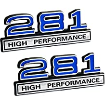 "281 4.6 Liter High Performance Engine Emblems in Chrome & Blue Trim - 4"" Long Pair"