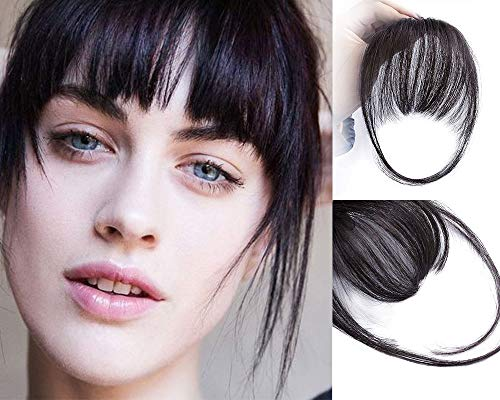 AISI QUEENS Clip in Bangs Hair Extensions Human Hair Air Bangs/Fringe Hairpiece Black Color with Temple Hand Made Tied Bangs for Women