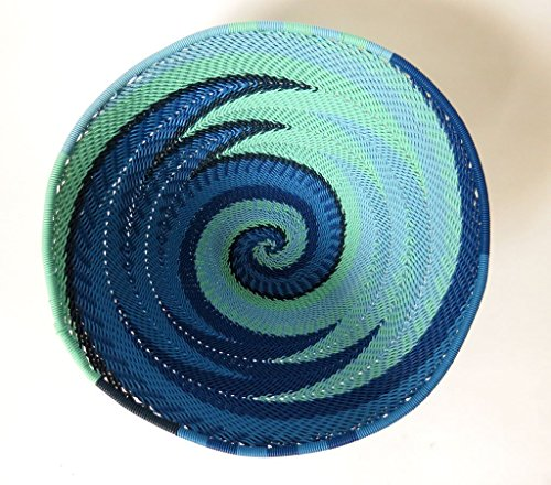 African Zulu Telephone Wire - African Zulu woven telephone wire bowl – Medium round - Blue - Gift from Africa