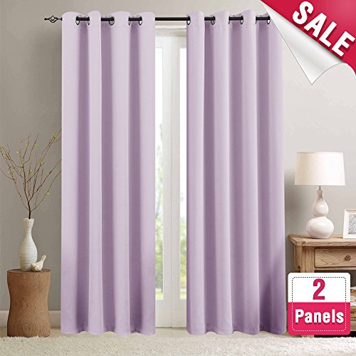 Lilac Blackout Curtains For Girls Room Darkening Thermal Insulated Living Curtain Panels Bedroom 63 Inches Long Window Treatment Set Grommet Top