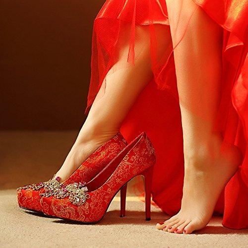 KPHY-Tacones Altos Rojo Zapatos De Boda Boda Bordado Mujeres Impermeable Zapatos De Boda De Diamante De Imitacion Zapatos De Tacon Alto De Gules Treinta Y Seis Thirty-six