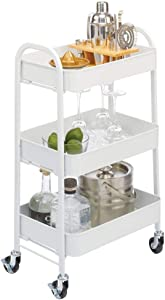 mDesign Metal 3-Tier Rolling Household Storage Cart to use in Bathrooms, Kitchen, Craft Rooms, Laundry Rooms, and Kid's Rooms - Portable, Includes 4 Caster Wheels - Matte White
