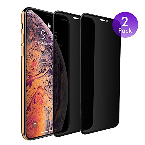 iPhone Xs X 10 Privacy Screen Protector Tempered Glass [2 Pack] Anti-Spy Protective Film with 0.3mm 3D Curve Edge Full Coverage Frame (Compatible with Apple iPhone Xs X, 5.8 inch) Black
