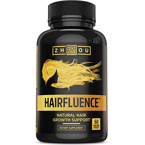 HAIRFLUENCE – All Natural Hair Growth Formula For Longer, Stronger, Healthier Hair – Scientifically Formulated with Biotin, Keratin, Bamboo & More! – For All Hair Types – Veggie Capsules 51040m2jR L