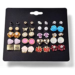 Ainiya Women'S Girl'S Assorted Multiple Stud Earring 20 Style Sets Stud Earrings Set Cute Kids Earring Studs Heart Flower Rose Leaf Butterfly Owl Shaped Jewelry Set With Card For Women Girls