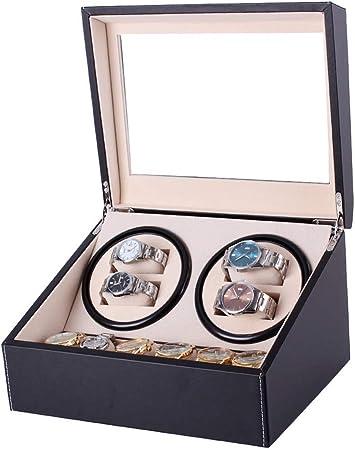 J.Mmiyi Caja Relojes Automaticos Silencioso Cajas Giratorias para Relojes (para 4+ 6 Relojes) Negro Clásico Caja De Relojes Mecánicos Caja Bobinadora,Black: Amazon.es: Hogar