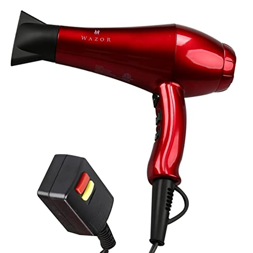 Wazor Hair Dryer 1875W Ceramic Ionic Blow Dryer Infrared Negative Ionic Dryer Cool Shot Button Coco Red