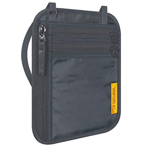 VENTURE 4TH Travel Wallet   RFID Passport Holder   Security Neck Pouch (Gray)