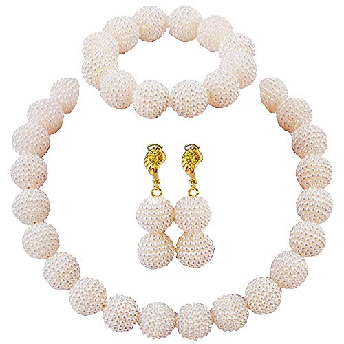 aczuv Nigerian Wedding African Beads Jewelry Set Women Simulated Pearl Necklace and Earrings]()