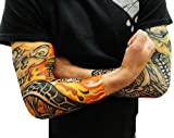 Tattoo Sleeves - Skull And Flames Biker Fake Tattoo Sleeves (Pair) #38