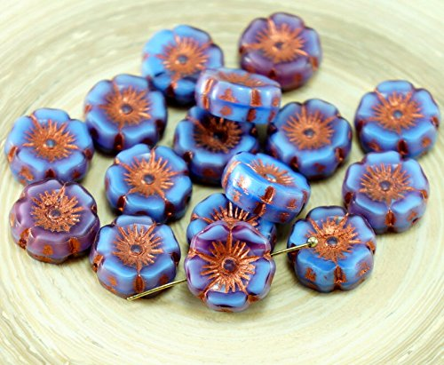 Carved Flower Beads - 6pcs Rustic Picasso Bronze Purple Blue Satin Czech Glass Flat Carved Table Cut Hawaiian Flower Beads Coin 12mm