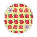 KESS InHouse Jane Smith Seasons Summer Yellow Red Round Beach Towel Blanket
