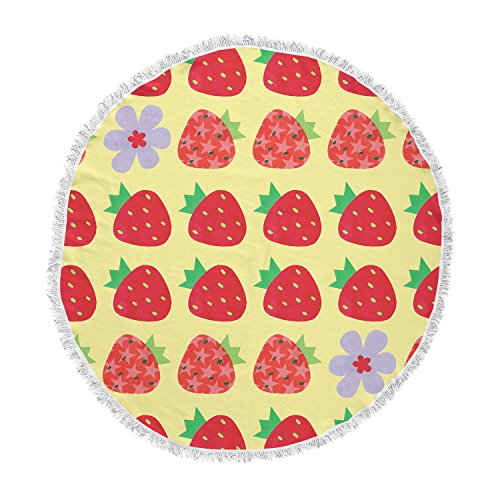KESS InHouse Jane Smith Seasons Summer Yellow Red Round Beach Towel Blanket by Kess InHouse