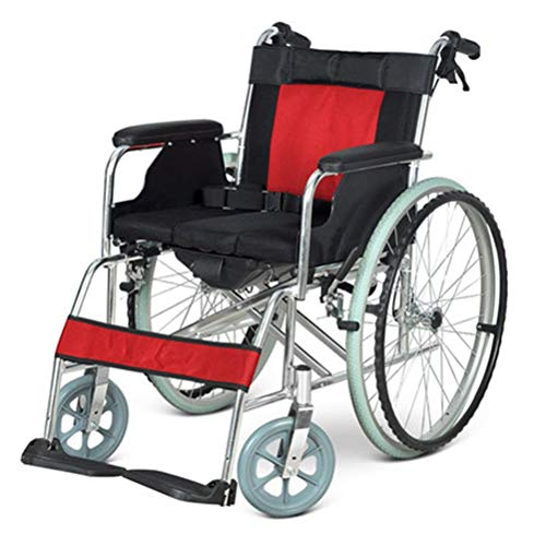NKDK Wheelchair Aluminum Alloy Wheelchair Folding Lightweight Ultra Light Belt Toilet Elderly Portable Elderly Trolley
