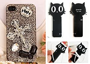 Crystal 3D Cross Crown DIY Handmade Coque Case for Iphone 4 or 4S (Package Included Cord Wrap)