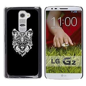 YOYOYO Smartphone Protección Defender Duro Negro Funda Imagen Diseño Carcasa Tapa Case Skin Cover Para LG G2 D800 D802 D802TA D803 VS980 LS980 - lobo blanco dibujo canino negro