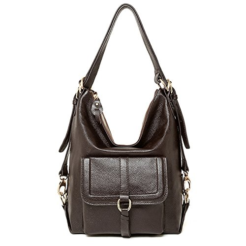 Coffee with Bag Top Shoulder SEALINF Front Backpack Flap Womens Convertible Leather Handle WSccF1T