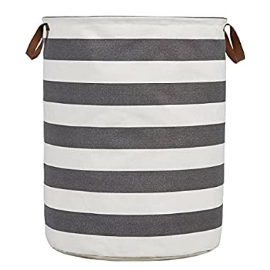 HVS Heavy Duty and Durable Storage Laundry Hampers, Water-Resistant Cotton Canvas, Gray/White, X-Large