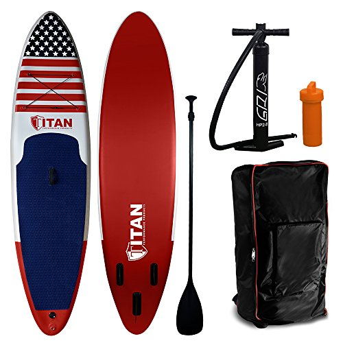 Wet Hot American Summer Inflatable Stand Up Paddle Board (10 Feet 6 Inches) | Military Grade Drop Stitch PVC Core Interior | Stand Up Paddle Board Comes with Adjustable Paddle, Coil Leash and Pump by Titan Performance Products