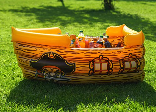 Kenley Inflatable Drinks Cooler - Floating Pirate Ship - Supplies & Decorations for Beach Pool Party, Summer Picnic, BBQ, Luau or Pirate Theme Kids Birthday - Ice Buffet Tray Drink Holder Serving Bar -