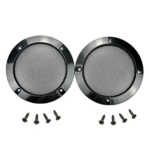 2 pcs Speaker Grills Cover Case with 8 pcs Screws for 5 Inches Speaker Mounting Home Audio DIY - 6.02/153mm Outer Diameter Black (5)