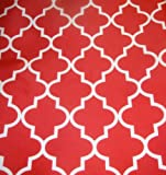"Upholstery Moroccan White on Red Waterproof Outdoor Canvas fabric 60"" Wide"