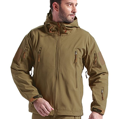 Tactical Jacket - FREE SOLDIER Soft Shell Fleece Lined Water Repellent Coat Windproof Outwear Camouflage Jacket(Coyote Brown M) Fleece Lined Water