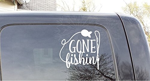 Gone Fishing Car Window Decal Sticker Vinyl Lettering Fisherman Vehicle Graphic, 9x9-Inch, White Glossy