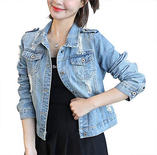 SUSIELADY Women Casual Denim Jacket Jeans Tops Half Sleeve Trucker Coat Outerwear Girls Fashion Slim Outercoat Windbreaker (M, Blue-178) (Korean Spring)