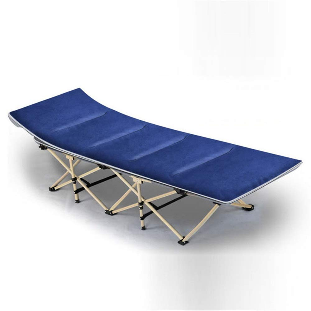 HoGau Bequem zu Lagerung Tragbare Campingbett Doppelschichtgewebe Verdicken Rohre Seitentasche Sonnenliege Home Office Outdoor Rest Zustellbett (Farbe : Blau, Größe : 190 * 67 * 35cm)