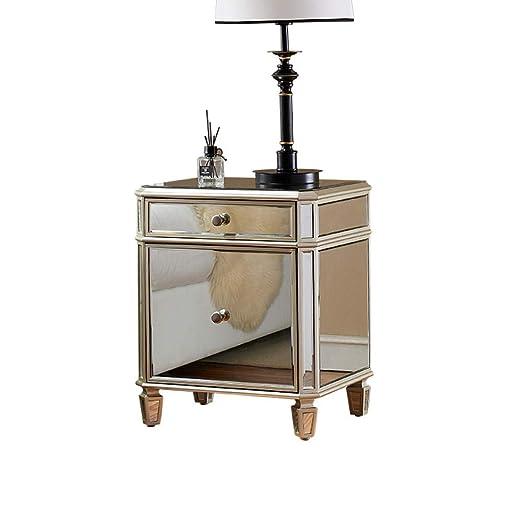 YTSFT Espejo Muebles Mesita de Noche con Espejo Moderno Mesa de ...